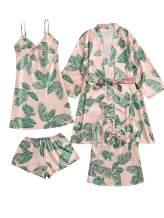 SOLY HUX Women's Sleepwear 4pcs Floral Print Satin Cami Pajama Set with Robe