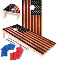 EXERCISE N PLAY Premium American Flag Cornhole Set, Backyard Lawn Cornhole Outdoor Game Set, Regulation Size 4ftx2ft Cornhole Boards, Includes 8 Cornhole Bean Bags