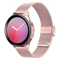 TRUMiRR Women Band for Galaxy Watch Active2 40mm 44mm Pink Gold, Mesh Woven Stainless Steel Watchband Quick Release Strap Wristband for Samsung Galaxy Watch Active 2 40mm 44mm SM-R830/R820