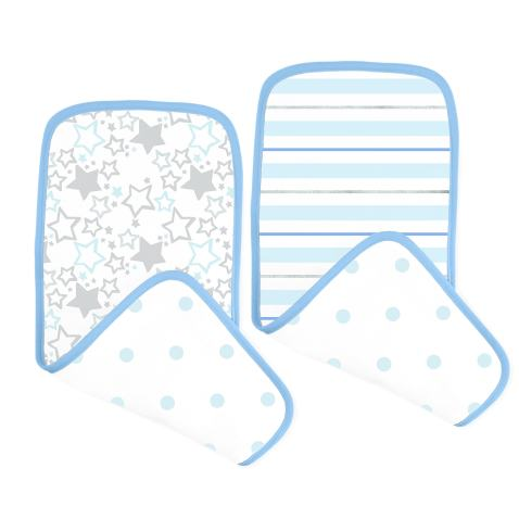 SwaddleDesigns Cotton Muslin Baby Burpies, Set of 2 Cotton Burp Cloths, Blue Starshine Shimmer
