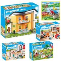 PLAYMOBIL Creative Kids Modern House Mega Toys Kit | Indoor Games | Includes Modern House, Living Room, Bathroom, Housewarming Party  w/ Bonus Dimple Washable Coloring  Playmat