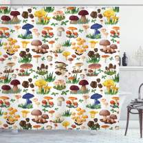 "Ambesonne Mushroom Shower Curtain, Pattern with Types of Mushrooms Wild Species Organic Natural Food Garden Theme, Cloth Fabric Bathroom Decor Set with Hooks, 75"" Long, White Yellow"