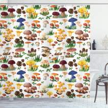"""Ambesonne Mushroom Shower Curtain, Pattern with Types of Mushrooms Wild Species Organic Natural Food Garden Theme, Cloth Fabric Bathroom Decor Set with Hooks, 75"""" Long, White Yellow"""