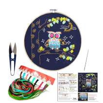 Full Set of Handmade Embroidery Starter Kit with Cute Animal Pattern Including Embroidery Cloth,Bamboo Embroidery Hoop, Color Threads, and Tools Kitfor Beginners (Owl)