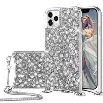 HoneyAKE for iPhone 11 Pro Max Case Glitter Bling Diamond Rhinestone Durable Hybrid TPU Bumper Hard Anti-Slip Back Cover with Crossbody Chain Protective Cover for iPhone 11 Pro Max Grey