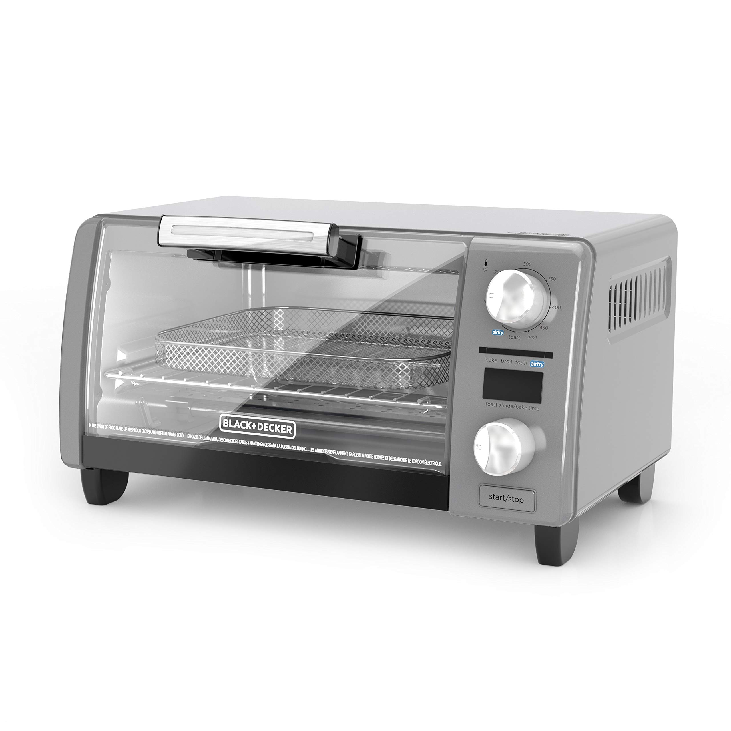 "BLACK+DECKER TOD1775G Crisp 'N Bake Air Fry Digital Toaster Oven, 9"" Pizza or 4 Slices of Bread, Gray"