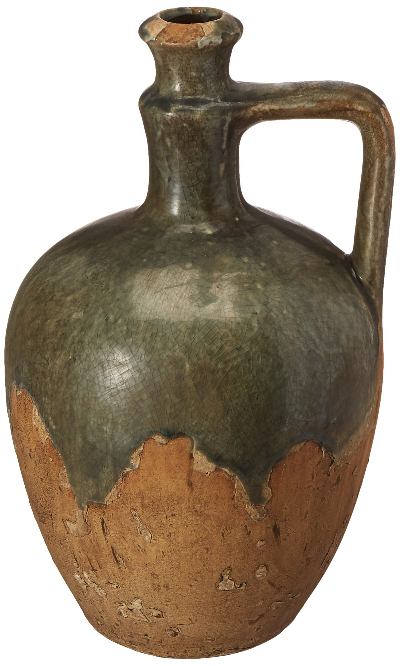 IMAX 13323 Bardot Blue Stone Large Ceramic Jug - 7.5 in. (W) x 15 in. (H) Handcrafted, Fire Glazed Clay Jug in Antiqued Look. Home Decor Stoneware
