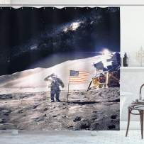 """Ambesonne Space Shower Curtain, Astronaut on Moon with American Flag Invasion Rocket Cosmonaut Mission Photo Print, Cloth Fabric Bathroom Decor Set with Hooks, 70"""" Long, Taupe Blue"""