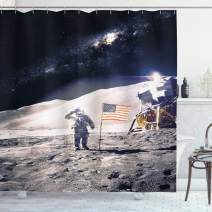 """Ambesonne Space Shower Curtain, Astronaut on Moon with American Flag Invasion Rocket Cosmonaut Mission Photo Print, Cloth Fabric Bathroom Decor Set with Hooks, 84"""" Long Extra, Taupe Blue"""