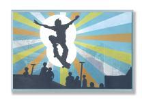 The Kids Room by Stupell Skateboarder Sillouhette Rectangle Wall Plaque