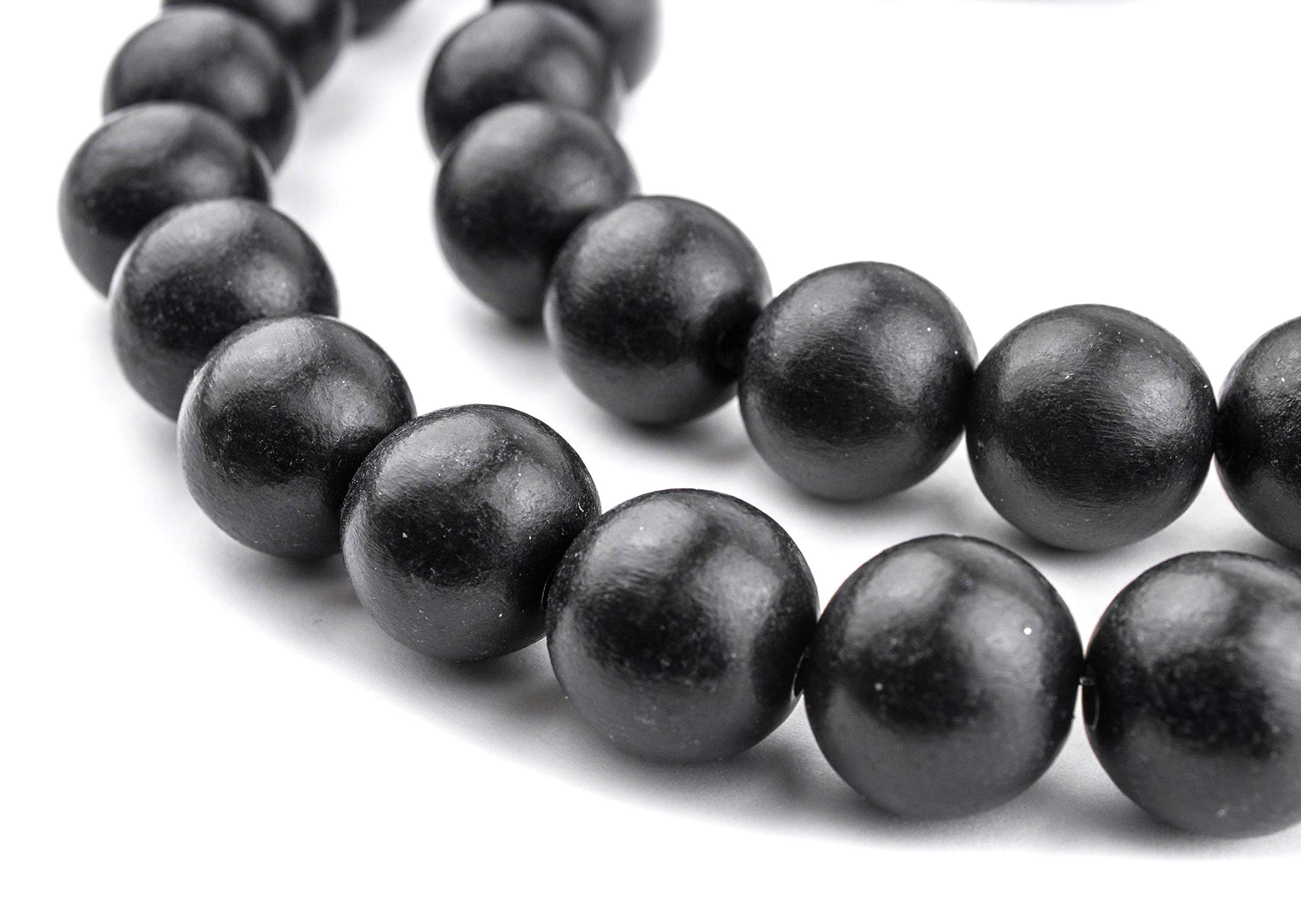TheBeadChest 16mm Natural Round Wood Beads, Wooden Beads Loose Wood Spacer Beads for DIY Jewelry Making, 4 Sizes (8mm, 10mm, 12mm, 20mm) - Black