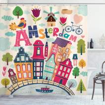 "Ambesonne Dutch Shower Curtain, Cartoon Style Amsterdam Architecture Illustration with Colorful City and Trees, Cloth Fabric Bathroom Decor Set with Hooks, 84"" Long Extra, Pastel Blush"