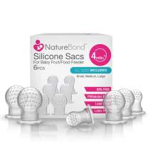 NatureBond Silicone Teat Sac (6 PCS) for Baby Food/Fruit Feeder | BPA Free, Lead Free, Latex Free & Phthalates Free & All Sizes Included