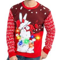 Men's LED Light Up Christmas Holiday Ugly Sweater with Built-in Light Bulbs