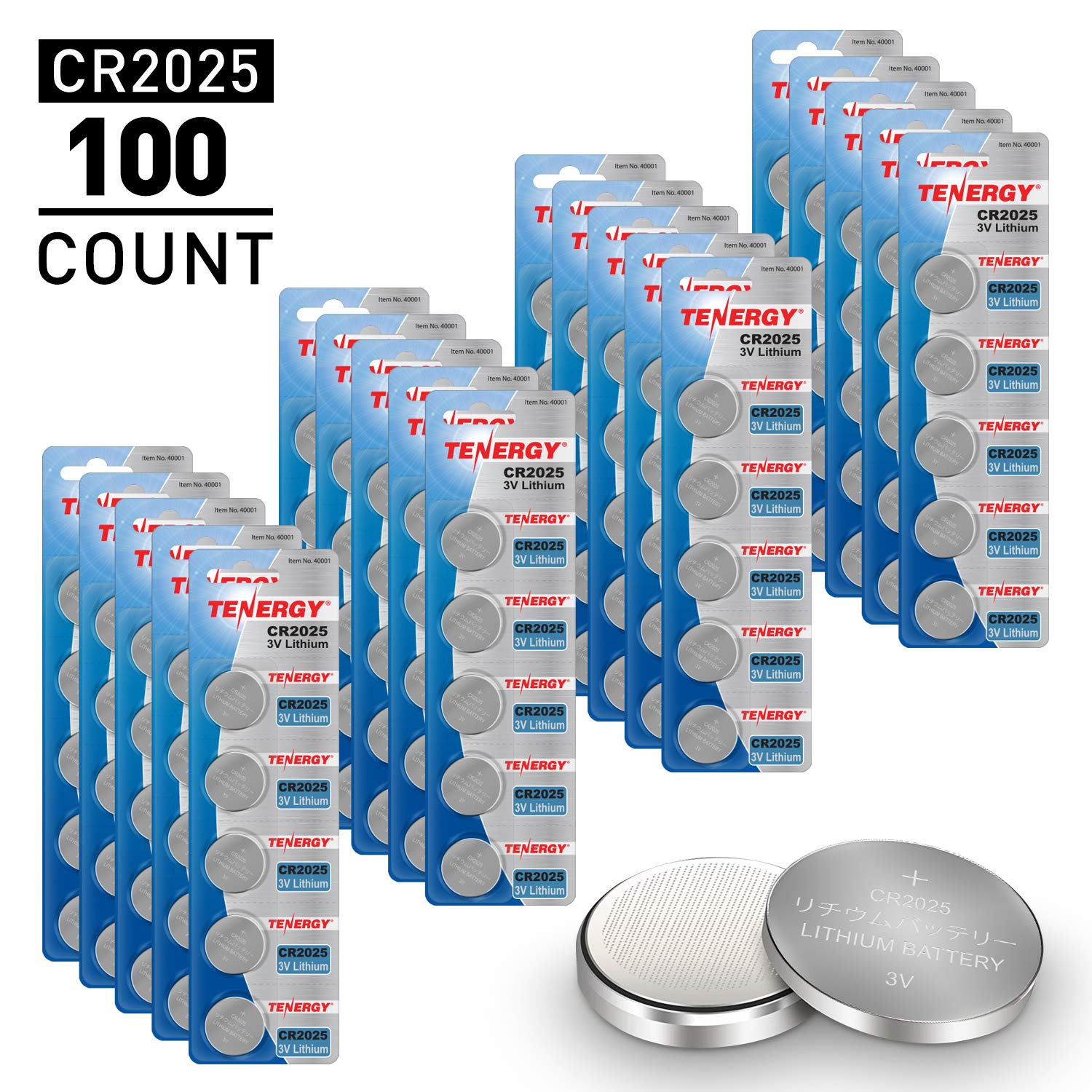Tenergy CR2025 3V Lithium Button Coin Cell Batteries, Ideal for Key Fob Battery cr2025, Watches, Calculators, Thermometers, Glucometers, and More, 100 Pack