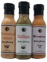 Premium | CLASSIC Salad Dressing | Variety 3 Pack | Italian Salad Dressing | Western Salad Dressing | Thousand Island Salad Dressing | Low Cholesterol