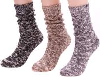 Women Winter Thick Knit Cotton Crew Socks Vintage Cable Boot Socks, Size 5-9 W70