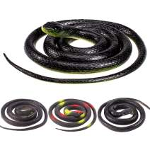 Whaline 4 Pieces Realistic Rubber Snakes Scary April Fools Decoration Fake Black Snake for Garden Props to Scare Birds, Squirrels, Mice, Pranks, Halloween Party (2 Sizes, 52 Inch, 31.5 Inch)