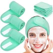 Whaline 4 PCS Spa Headband, Make up Hair Band, Stretch Terry Cloth Headband for Sport Yoga Shower (Mint Green)