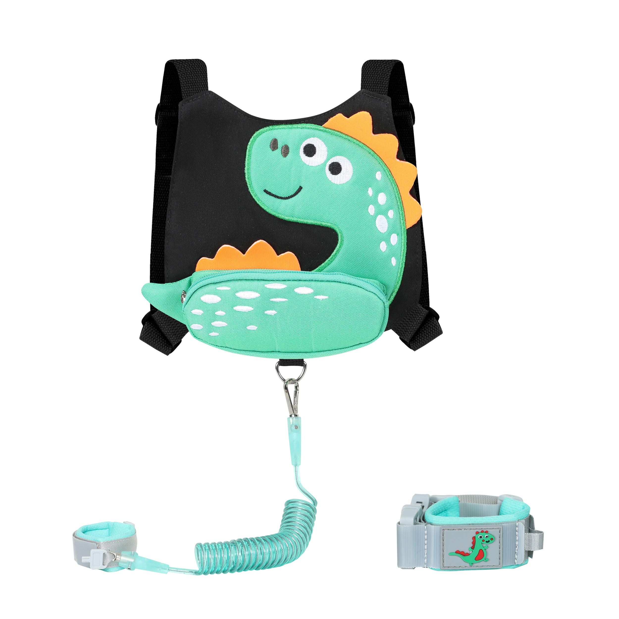 Baby Toddlers Cute Dinosaur Harness with Wrist Leash for Kid Walking Safety 1.5 to 3 Years (Little Dinosaur Black)