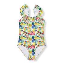 MISSWIM Girls Cute One Piece Swimsuit Ruffle Straps Watermelon Lemon Prints Swimming Wear
