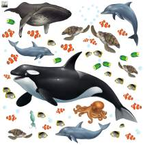 Create-A-Mural : Ocean Wall Decals Undersea Wall Stickers (29) Under Water Sea Life Kids Room Decor Vinyl Art Bedrooms Baby Nursery, Toddler, Teen, Playroom Classroom Birthday DIY
