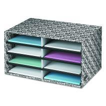 Bankers Box Decorative Eight Compartment Literature Sorter, Letter, Black/White Brocade (6171301)