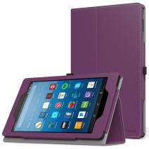 MoKo Case for All-New Amazon Fire HD 8 Tablet (7th/8th Generation, 2017/2018 Release) - Slim Folding Stand Cover for Fire HD 8, Purple (with Auto Wake/Sleep)