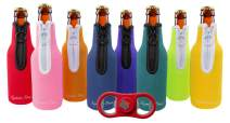 Eximius Power Beer Bottle Party Drink Thermal Coolies   Extra Thick 4mm Neoprene Holder Keeper  Fully Stitched Neoprene Bottom & Zipper   Pack of 8 Assorted Color Sleeves - Bonus Fidget Bottle Opener