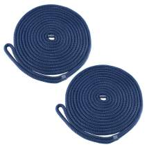 Amarine Made Double Braided Nylon Dock Lines 4840 lbs Breaking Strength (L:25 ft. D:1/2 inch Eyelet: 12 inch) 2 Pack of Marine Mooring Rope Boat Dock Lines Working Load Limit:968 lbs