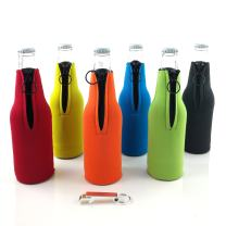 Beer Bottle Coolies, Neoprene Zipper Coolers, 6 Pack of Sleeves with Assorted Colors with Bottle Opener