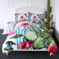 ARIGHTEX Cactus Duvet Cover Set Boho Style Succulent Flowers Bedding Green Plants Bed Comforter Cover Sets 3 Piece Exotic Natural Vintage Watercolor Pattern Bed Spreads (Twin)