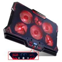 KEYNICE Laptop Cooling, 12-17 inch Laptop Cooling Pad, Laptop Cooler with 6 Quiet Fans, Dual USB Port, 5 Wind Speed Adjustable, Red LED Light, Gaming Cooling Fan for Laptop, Portable Notebook Cooler