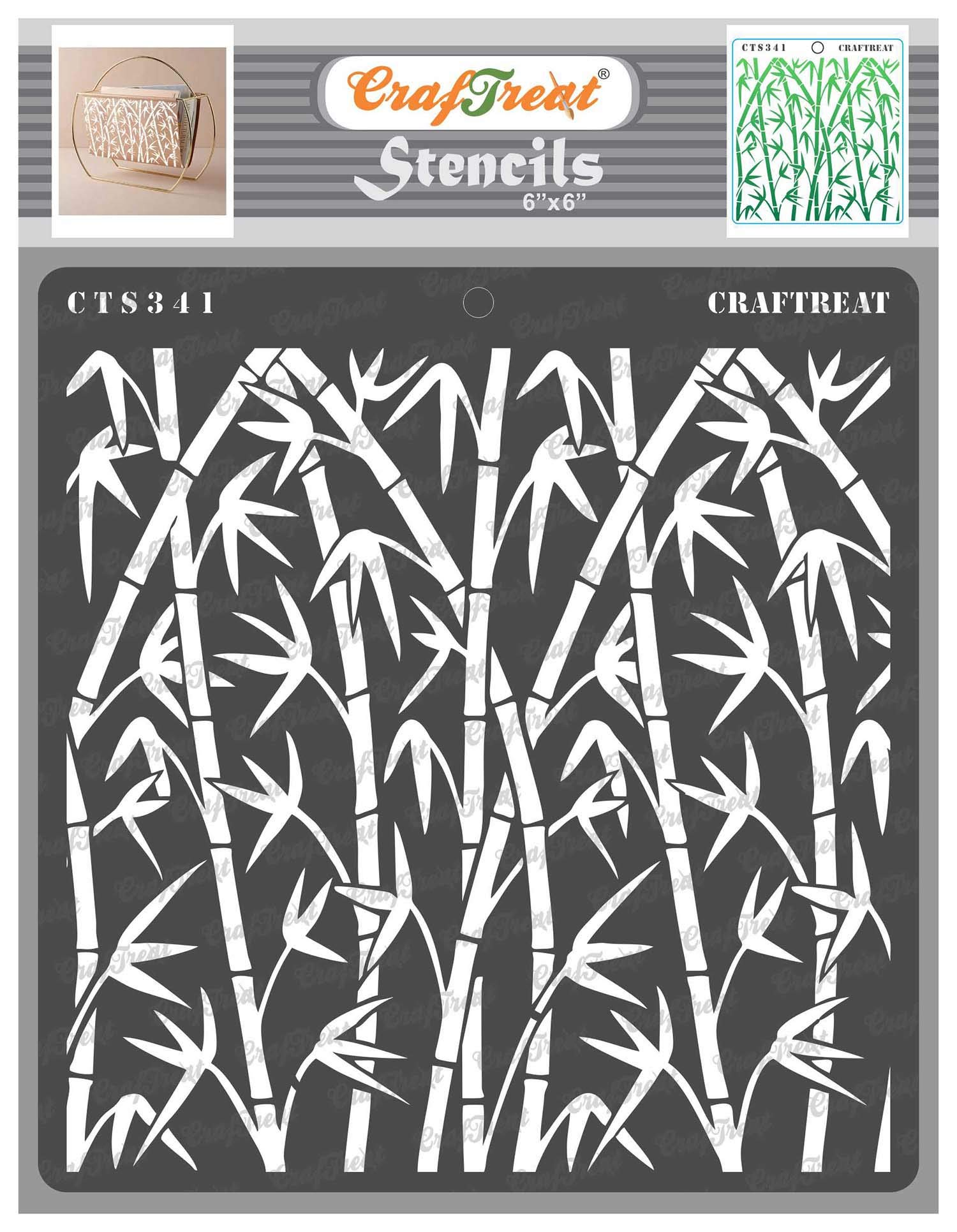 CrafTreat Forest Stencils for Painting on Wood, Canvas, Paper, Fabric, Floor, Wall and Tile - Bamboo Forest - 6x6 Inches - Reusable DIY Art and Craft Stencils - Bamboo Stencil
