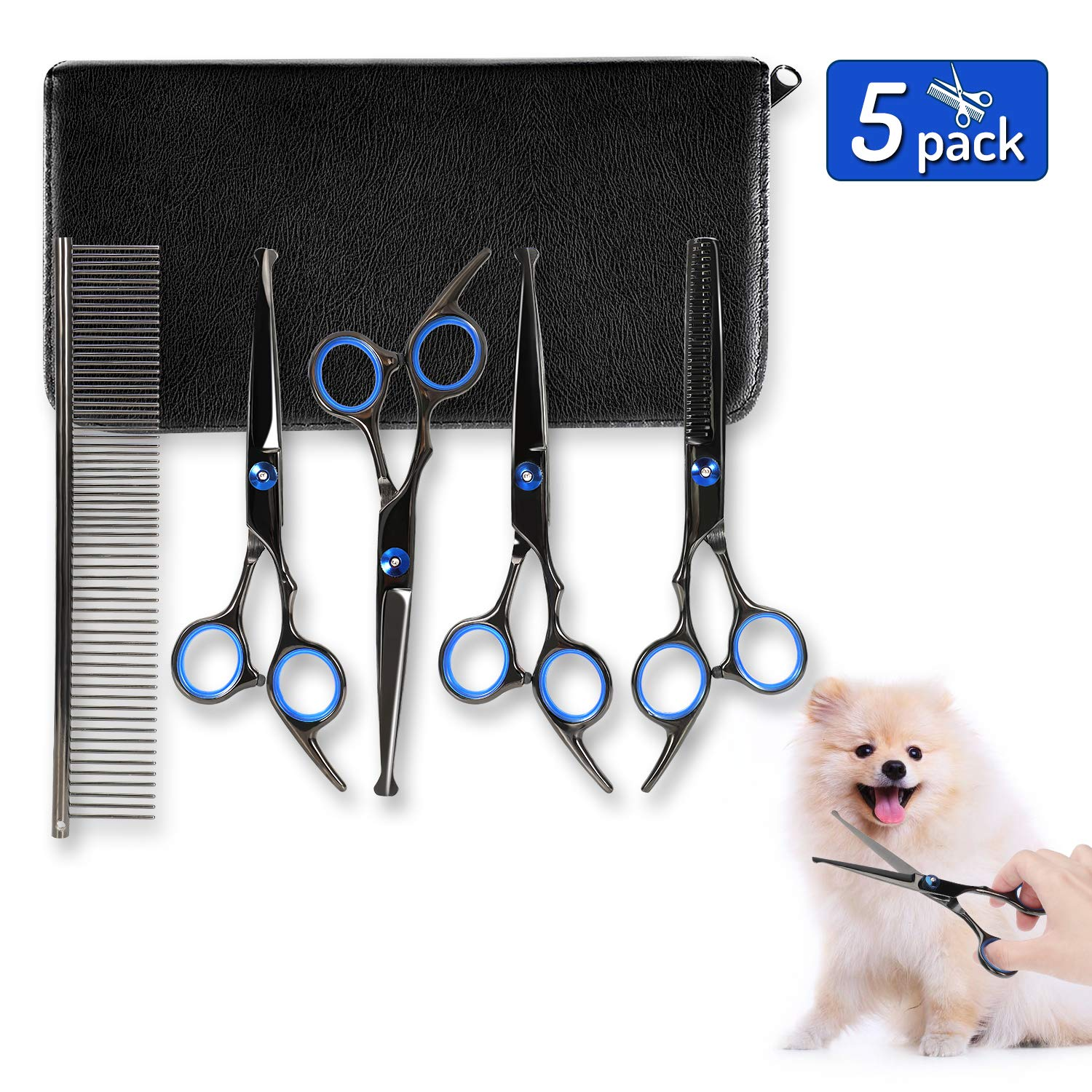 Dog Grooming Scissors Kit, 5 Pack Stainless Steel Professional Safe & Fast Cut Pet Grooming Scissors Set with Thinning, Straight, Curved Shear Scissor and Grooming Comb for Cutting Hair of Dog Cat