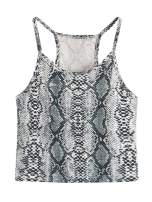 SheIn Women's Summer Basic Sexy Strappy Sleeveless Racerback Crop Top Small Leopard