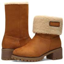 Winter Boots for Women Stylish Fold Suede Chunky Mid Heel Round Toe Short SNO.