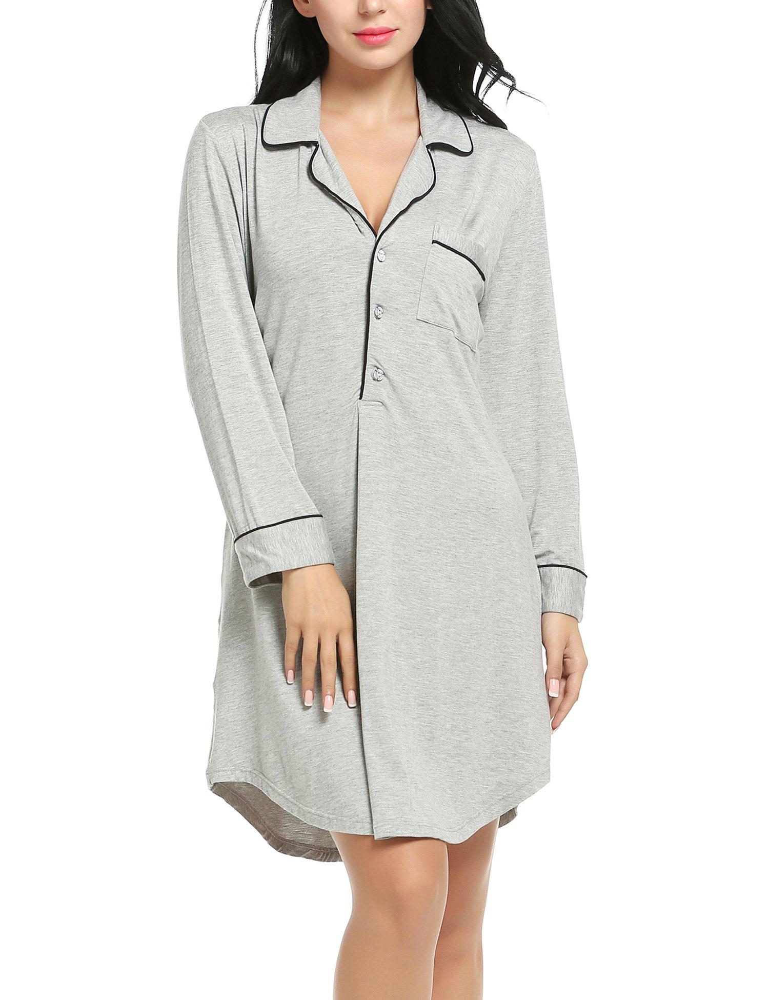 Ekouaer Nightgown Button Down Nightshirt 3/4 Sleeve &Half Sleeve Pajama Top Boyfriend Sleepshirt Nightdress for Women