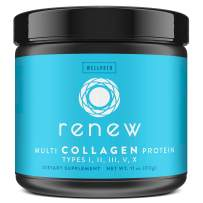 Renew Multi Collagen Protein Powder - 5 Types of Collagen - Hydrolyzed Grass-Fed Bovine, Marine, Chicken and Egg Collagen Peptides - Type I, II, III, V, and X - Keto Friendly Supplement