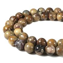 [ABCgems] Mexican Venus Jasper AKA Orbicular Rhyolite 8mm Smooth Round Beads for Beading & Jewelry Making