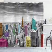"""Ambesonne New York Shower Curtain, NYC Cityscape Monochrome Photograph with Colorful Buildings Urban Architecture, Cloth Fabric Bathroom Decor Set with Hooks, 70"""" Long, Gray Pink"""