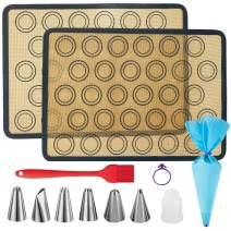 "Silicone Baking Mat,Macaroon Baking Mat, Non-Stick Set of 2 Reusable High Temperature Food Safety Silicone Baking Mat, Dishwasher Safe,(16.5""x11.8"")"
