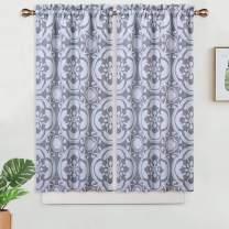 "Haperlare Floral Pattern Kitchen Cafe Curtains, Room Darkening Short Bathroom Window Curtain, Heavyweight Damask Design Blackout Half Window Covering Tier Curtains, 26"" x 45"", Grey, Set of 2"