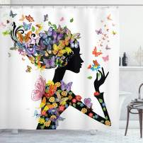 """Ambesonne Butterflies Shower Curtain, Girl Fashion Flowers with Butterflies Ornamental Floral Foliage Nature Forest, Cloth Fabric Bathroom Decor Set with Hooks, 75"""" Long, Black White"""