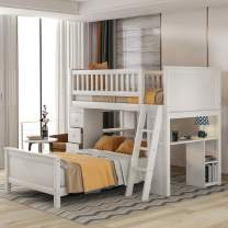 Twin-Over-Twin Bed with Storage Drawers and Stairs for Kids, Baysitone Loft System Twin Over Twin Bunk Bed Wood with Ladder (White)