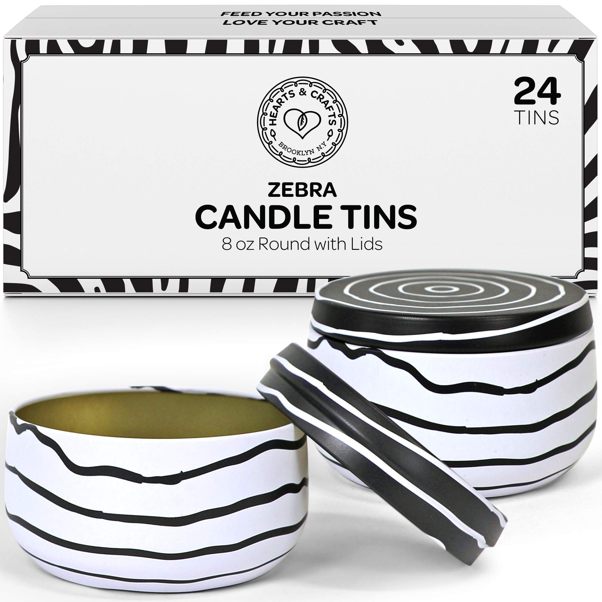 Hearts & Crafts Candle Tins with Lids - 8-oz. Zebra Tin Cans, 24-Pack - for Candles, Arts & Crafts, Storage, Gifts, and More