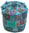 Indian Traditional Home Decorative Ottoman Handmade Pouf,Indian Comfortable Floor Cotton Cushion Ottoman Cover Embellished With Patch Work And Embroidery Work