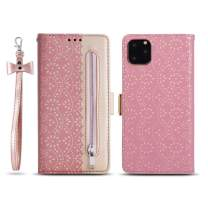 """ZCDAYE Zipper Wallet Case for iPhone 11 Pro, Fabulous Glossy Pattern Magnetic Closure PU Leather [Bowknot Lanyard][Kickstand][Card Slots] Soft TPU Book Case Cover for iPhone 11 Pro 5.8"""" -Rose Gold"""