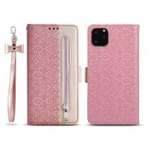 "ZCDAYE Zipper Wallet Case for iPhone 11 Pro, Fabulous Glossy Pattern Magnetic Closure PU Leather [Bowknot Lanyard][Kickstand][Card Slots] Soft TPU Book Case Cover for iPhone 11 Pro 5.8"" -Rose Gold"