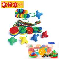 ETI Toys, 72 Piece Buttonz Buttonz. Build Endless Designs from Ropes and Enlarged Buttons. 100 Percent Safe, Fun, Creative Skills Development. Gift, Toy for 3, 4, 5 Year Old Boys and Girls.